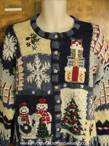 80s Snowman Couple Ugly Xmas Sweater