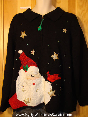 Tacky Cheap Ugly Christmas Sweater with Huge Festive Santa in the Star Filled Night Sky (f546)