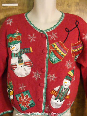 Festive Cute 80s Snowman and Mittens Ugly Xmas Sweater