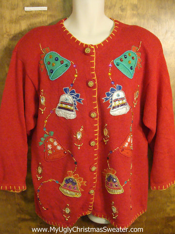 80s Big Size Bling Bells Ugly Xmas Sweater