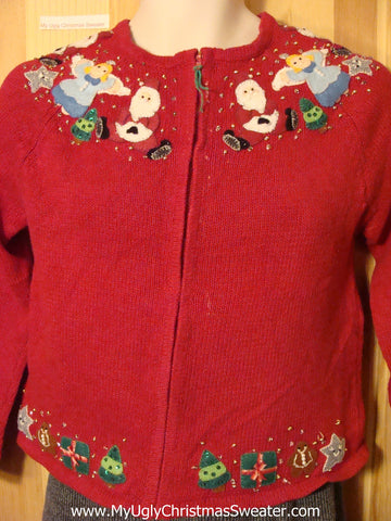 Tacky Cheap Ugly Christmas Sweater with Bling Bead Angels, Santa, and Gifts (f547)