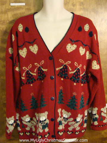 Dancing Teddy Bears 2sided Festive Ugly Christmas Sweater