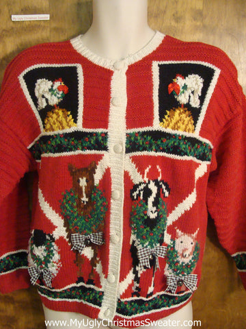 Rare 80s Farm Animals Festive Ugly Christmas Sweater