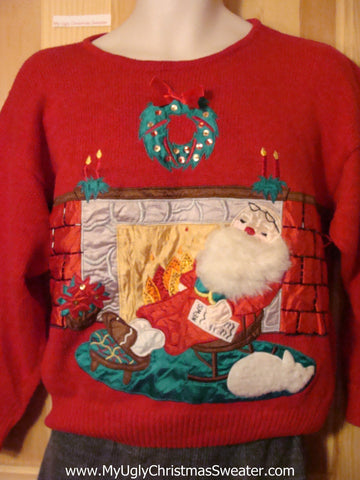 Tacky Cheap Ugly Christmas Sweater 80s Style Santa with Furry Beard (f548)
