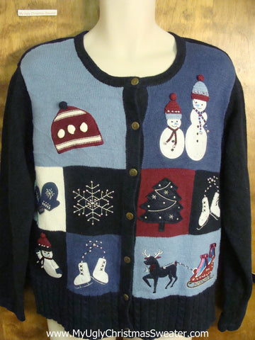 80s Patchwork Festive Ugly Christmas Sweater