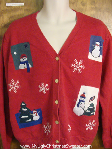 Tacky Snowman Festive Ugly Christmas Sweater