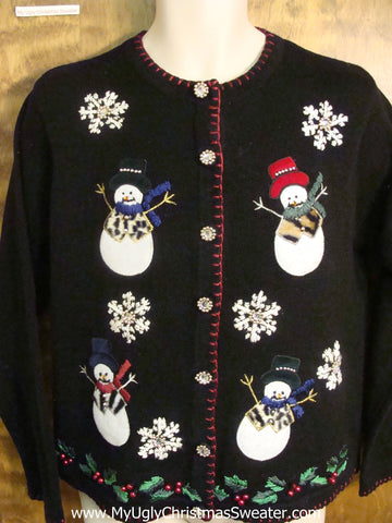 Dancing Snowman Festive Ugly Christmas Sweater
