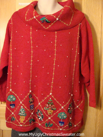 Tacky Cheap Ugly Christmas Sweater with 80s Huge Collar and Bling Gold Stitching (f549)