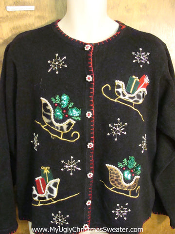 Animal Print Sleighs Funny Ugly Sweater for a Christmas Party