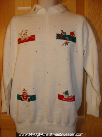Tacky Cheap Ugly Christmas Sweater with Bear, Reindeer, and Decorations on Front and Back  (f550)