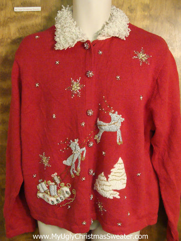 Bling Snowflakes and Reindeer Funny Ugly Sweater for a Christmas Party