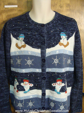 Snowman Playing in the Snow Funny Ugly Sweater for a Christmas Party