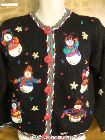 80s Happy Holidays Snowmen Funny Ugly Sweater for a Christmas Party