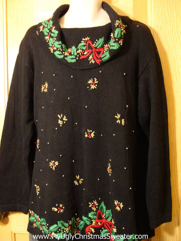 Tacky Cheap Ugly Christmas Sweater with Wide Collar and Bling  (f551)
