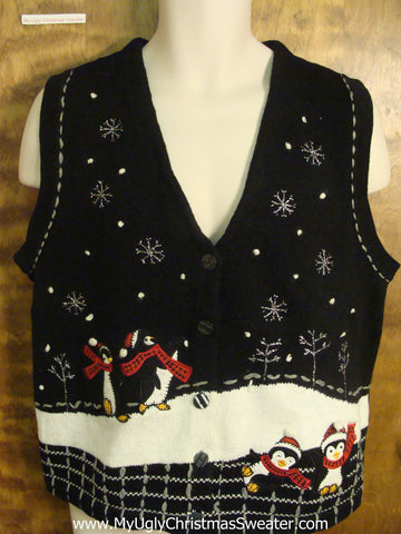 Playing Penguins Funny Ugly Sweater Vest for a Christmas Party
