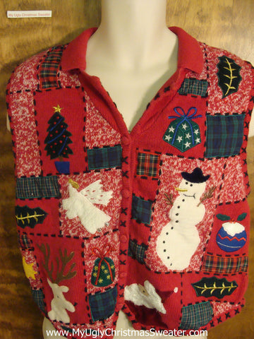 Patchwork Holiday Funny Ugly Sweater Vest for a Christmas Party
