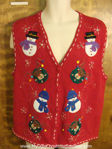 Snowmen Playing with Rudolph Funny Ugly Sweater Vest for a Christmas Party