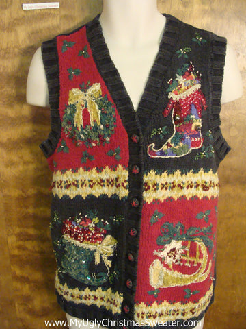 Stuffed Stockings Funny Ugly Sweater Vest for a Christmas Party