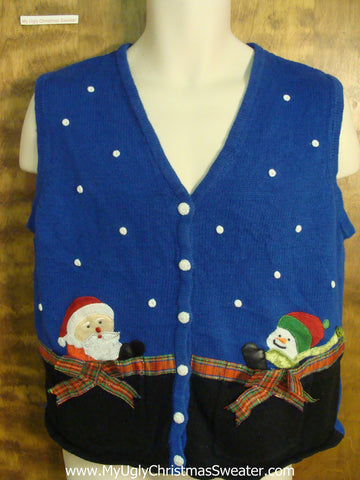 Festive Snowman and Santa Funny Ugly Sweater for a Christmas Party