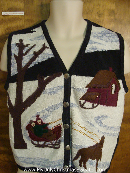 Winter Sleigh Ride Funny Ugly Sweater For A Christmas Party