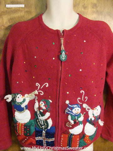 Musical Snowmen Funny Ugly Sweater for a Christmas Party