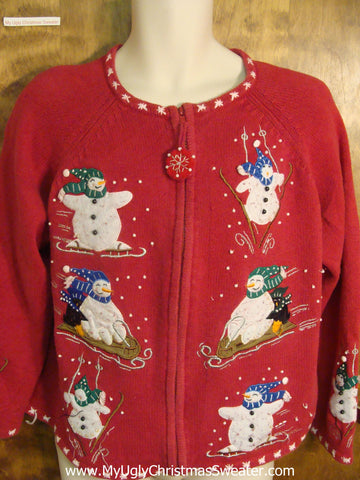 Snowmen Playing in the Snow Funny Ugly Sweater for a Christmas Party