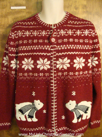 Nordic Patterned Polar Bear Funny Ugly Sweater for a Christmas Party