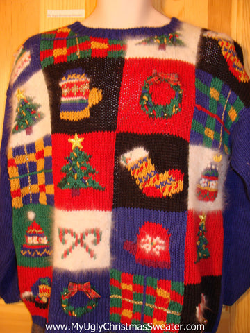 Tacky Cheap Ugly Christmas Sweater with Bright Festive Decorations and Bling (f554)