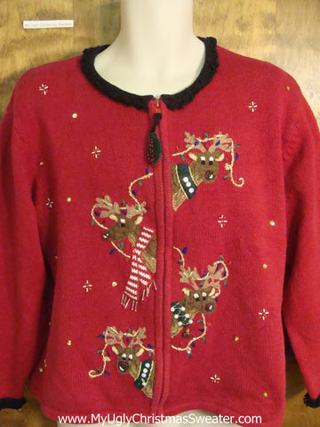 Reindeer Hanging Christmas Lights Funny Ugly Sweater for a Christmas Party