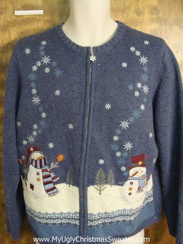Dancing Snowmen Funny Ugly Sweater for a Christmas Party
