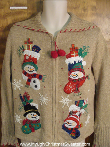 Snowman Stockings Funny Ugly Sweater for a Christmas Party