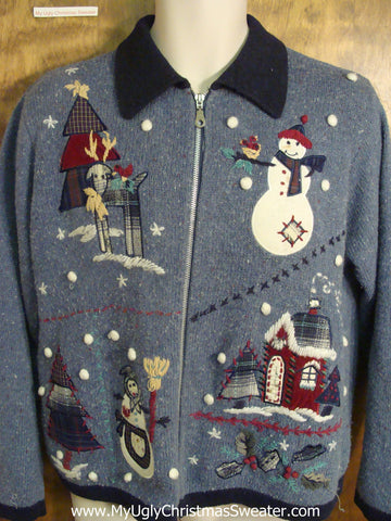 Festive Snowman Village Funny Ugly Sweater for a Christmas Party