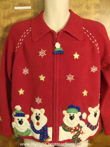 80s Polar Bear Family Funny Ugly Sweater for a Christmas Party