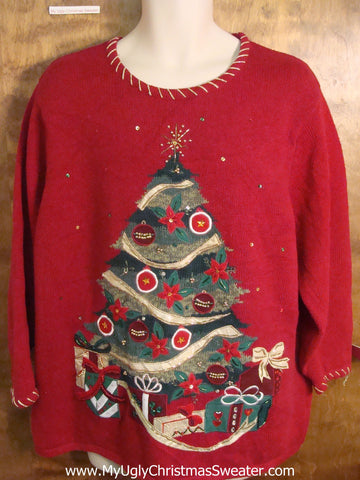 Decorated Xmas Tree Funny Ugly Sweater for a Christmas Party