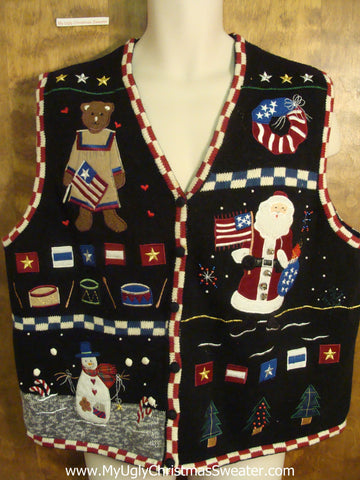 Patriotic Christmas Funny Ugly Sweater Vest for a Christmas Party