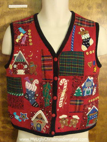 Festive Holiday Favorites Funny Ugly Sweater Vest for a Christmas Party