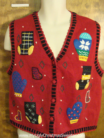 Mittens and Stockings Funny Ugly Sweater Vest for a Christmas Party