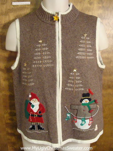 Santa Ready for Xmas Funny Ugly Sweater Vest for a Christmas Party