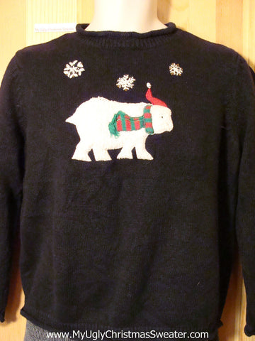 Tacky Cheap Ugly Christmas Sweater with White Bear in Festive Scarf & Hat  (f556)