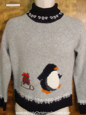 Penguin and its Sleigh Funny Ugly Sweater for a Christmas Party