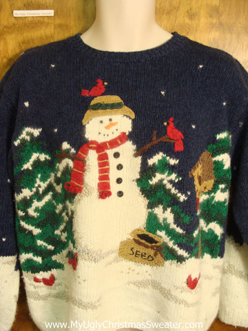 Snowman Celebrating with Birds Funny Ugly Sweater for a Christmas Party
