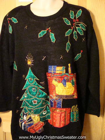 Tacky Cheap Ugly Christmas Sweater with a Colorful Tree and Gifts with 80s Style Padded Shoulders (f557)