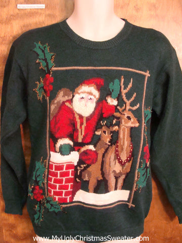 Santa Coming Down the Chimney Funny Ugly Sweater for a Christmas Party