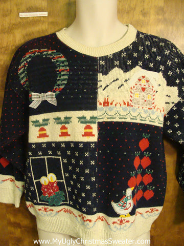 Patchwork Holiday Scenes Funny Ugly Sweater for a Christmas Party