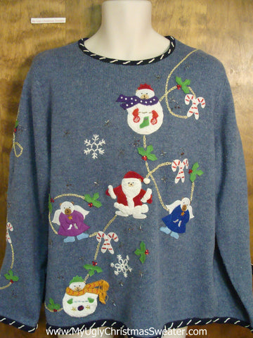 Santa with his Friends Funny Ugly Sweater for a Christmas Party