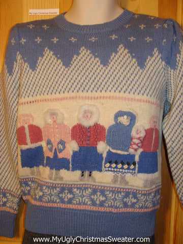 Tacky Vintage 80s Ugly Christmas Sweater with Padded Shoulders and an Eskimo Family  (f558)