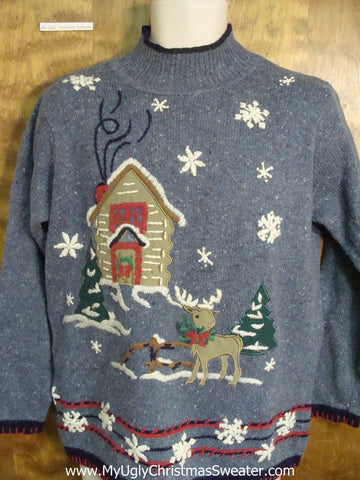 Snowy House Funny Ugly Sweater for a Christmas Party
