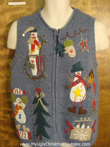 Snowman Decorating Funny Ugly Sweater Vest for a Christmas Party