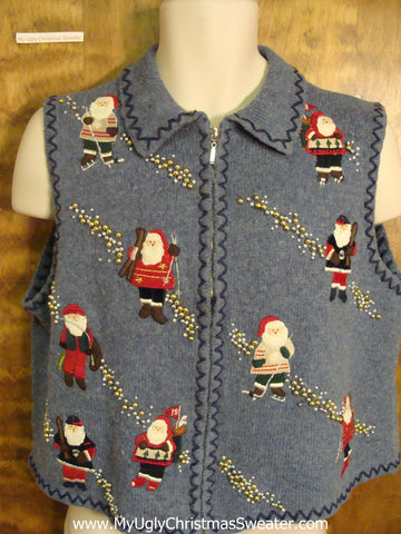 Sporty Santa Funny Ugly Sweater Vest for a Christmas Party