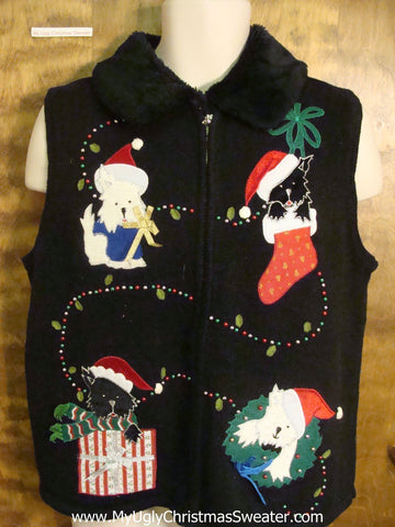 Dog and Cat Presents Funny Ugly Sweater Vest for a Christmas Party